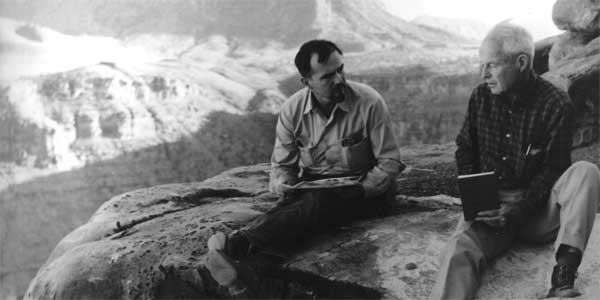 Gene Shoemaker, founder of the Astrogeology Team, at the Grand Canyon