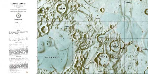 Air-brushed Lunar Chart showing Grimaldi Basin