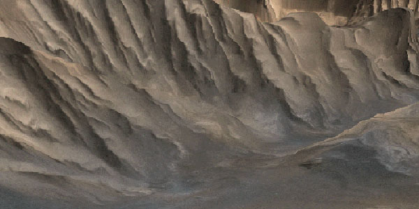 Perspective Image of the floor of Candor Chasma looking northward at the trough wall dividing Ophir and Candor Chasmata