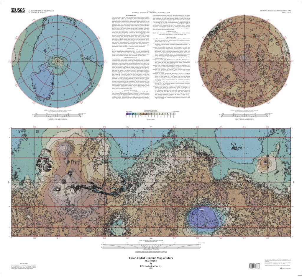 Mars global surveyor color coded contour map usgs astrogeology download gumiabroncs Image collections