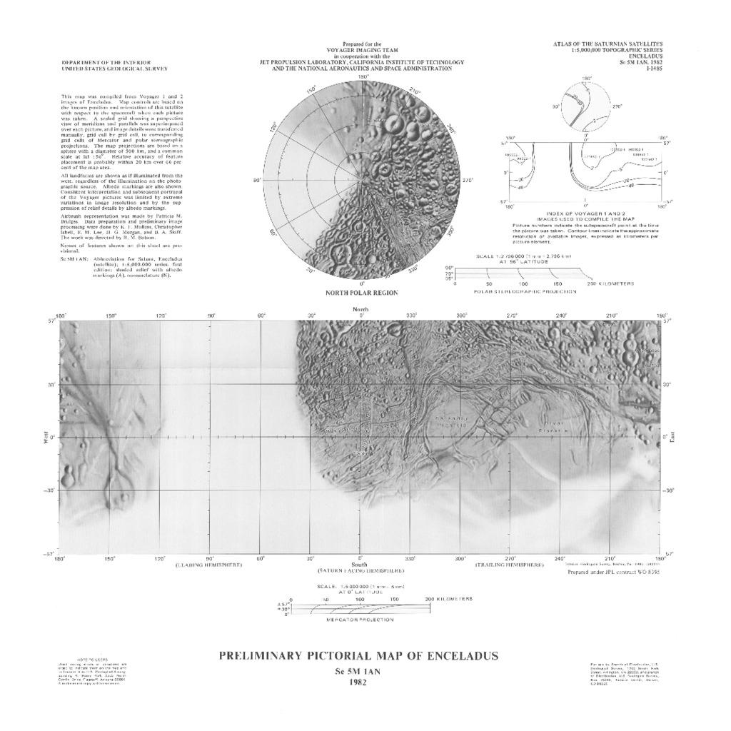 Enceladus Preliminary Pictorial Map | USGS Astrogeology Science Center