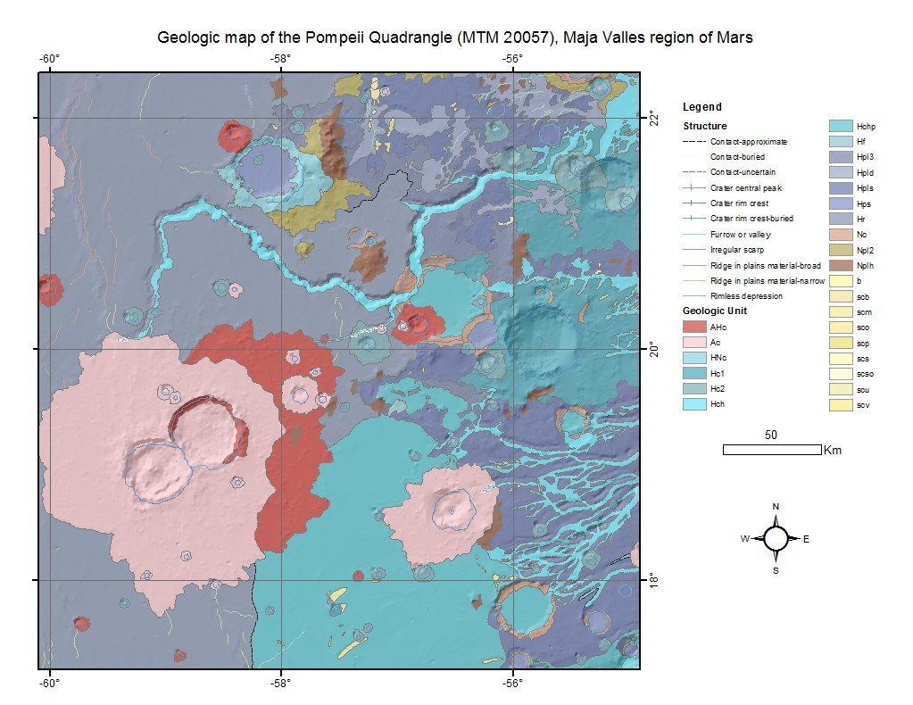 Pompeii World Map.Mars Viking Geologic Map I 2203 Of Maja Valles Pompeii Quad Zip