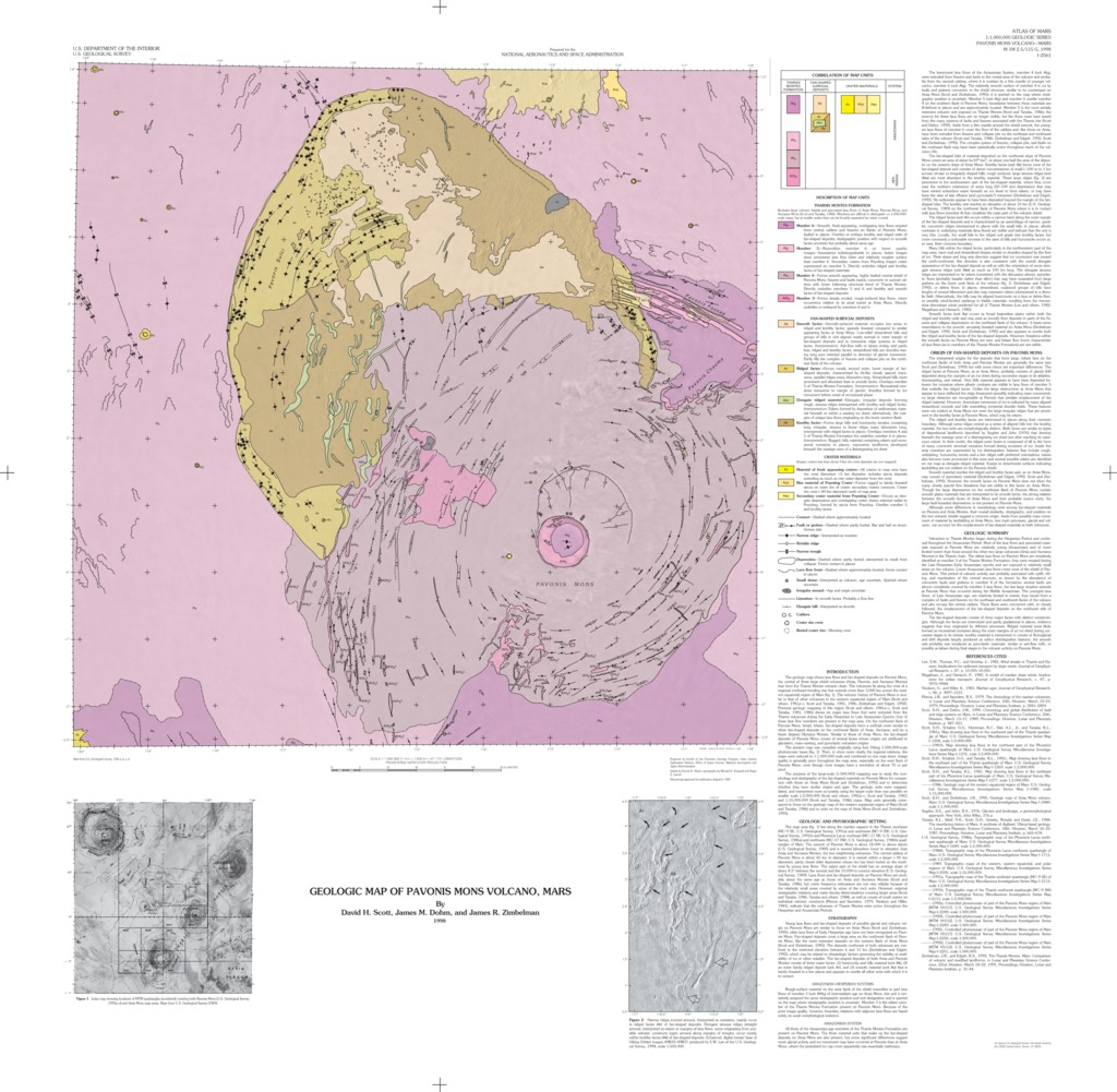 Mars Geologic Map of Pavonis Mons Volcano USGS Astrogeology