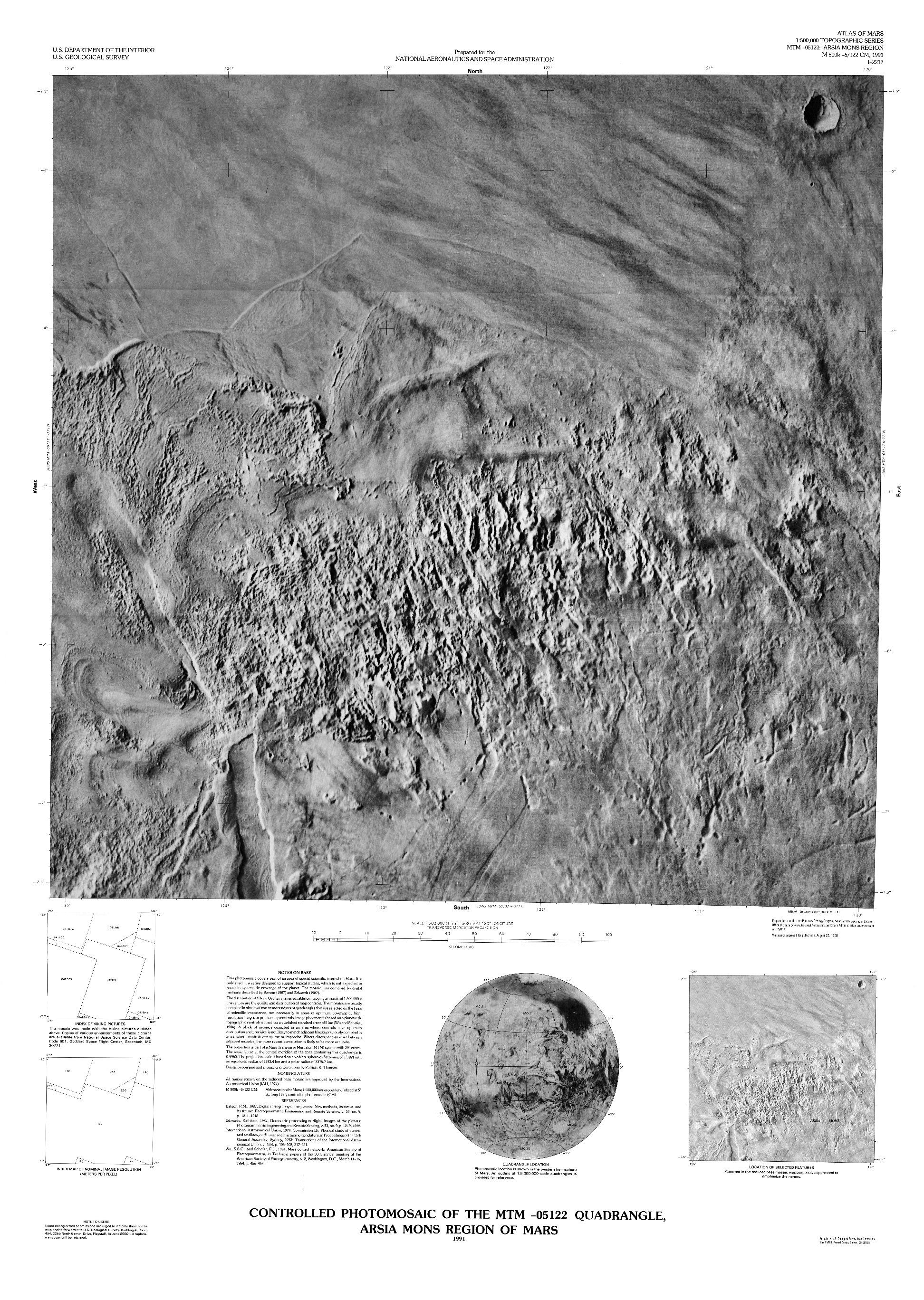 Mars Controlled Photomosaic of the MTM -05122 Quadrangle, Arsia Mons