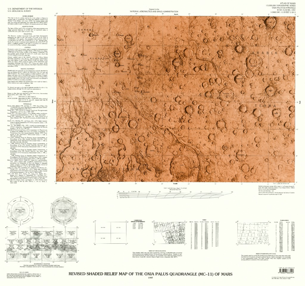 Mars Revised Shaded Relief Map and Controlled Color Photomosaic of