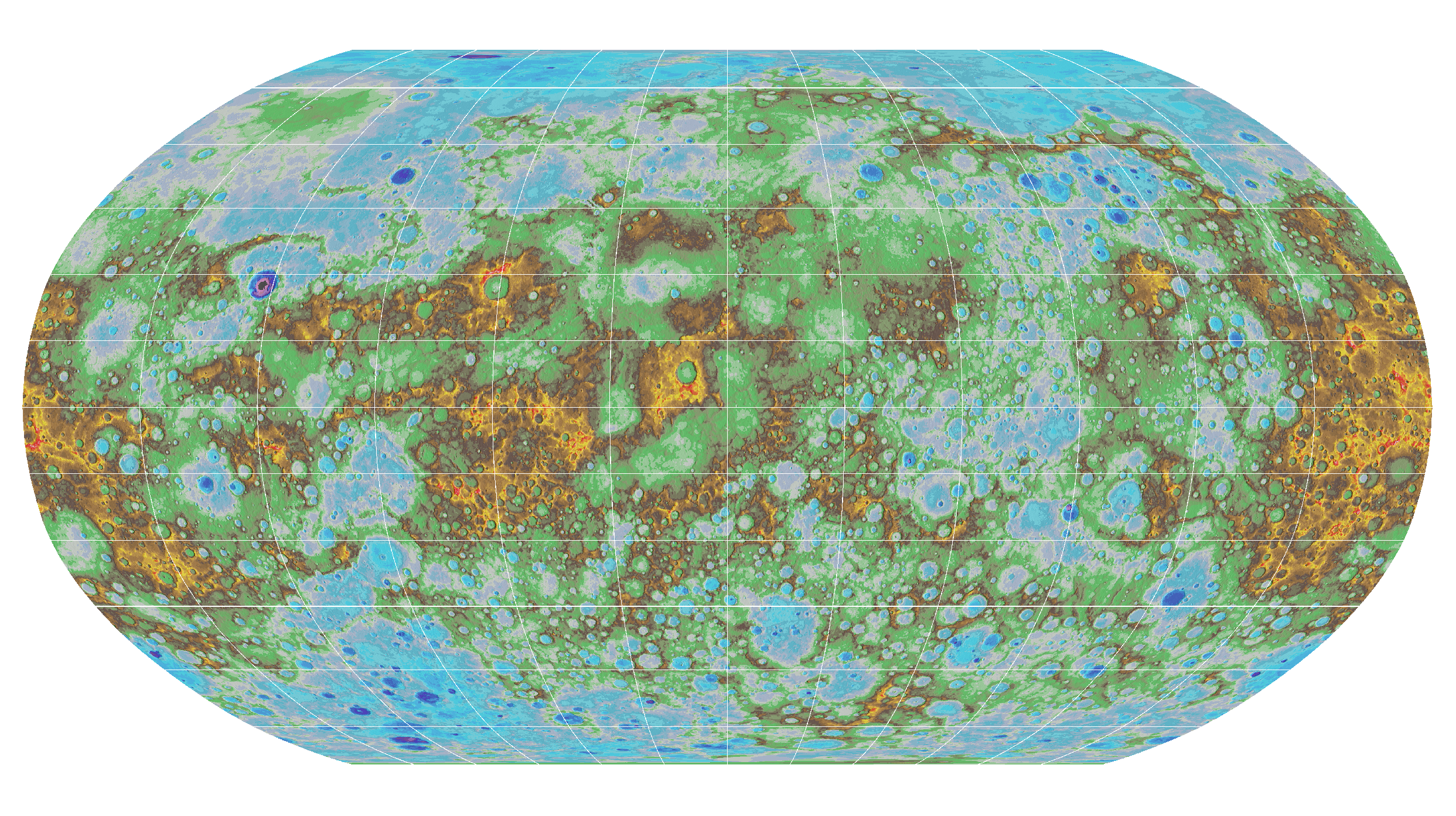 Mercury MESSENGER Global Colorized Shade Km USGS Astrogeology - Us geological survey map legend
