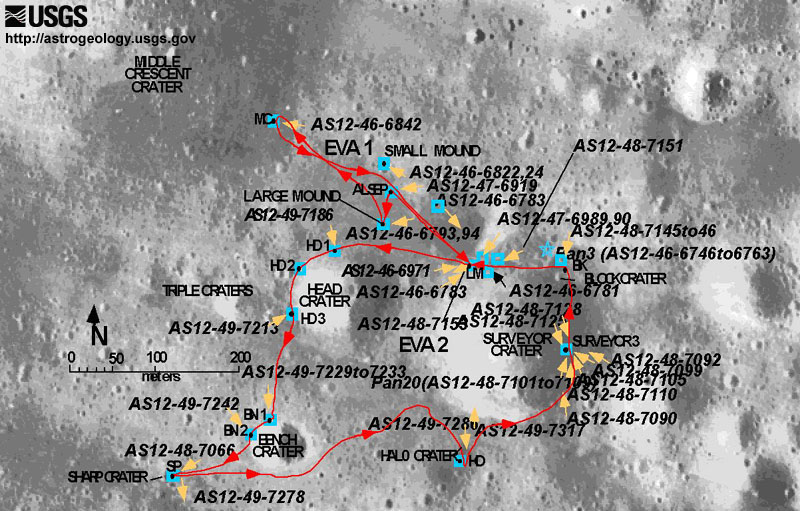 location moon map landing site apollo 12 - photo #27