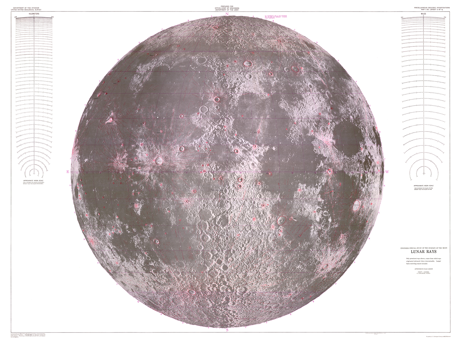 picture relating to Moon Printable identified as Moon Engineer Distinctive Review Lunar Rays Map USGS