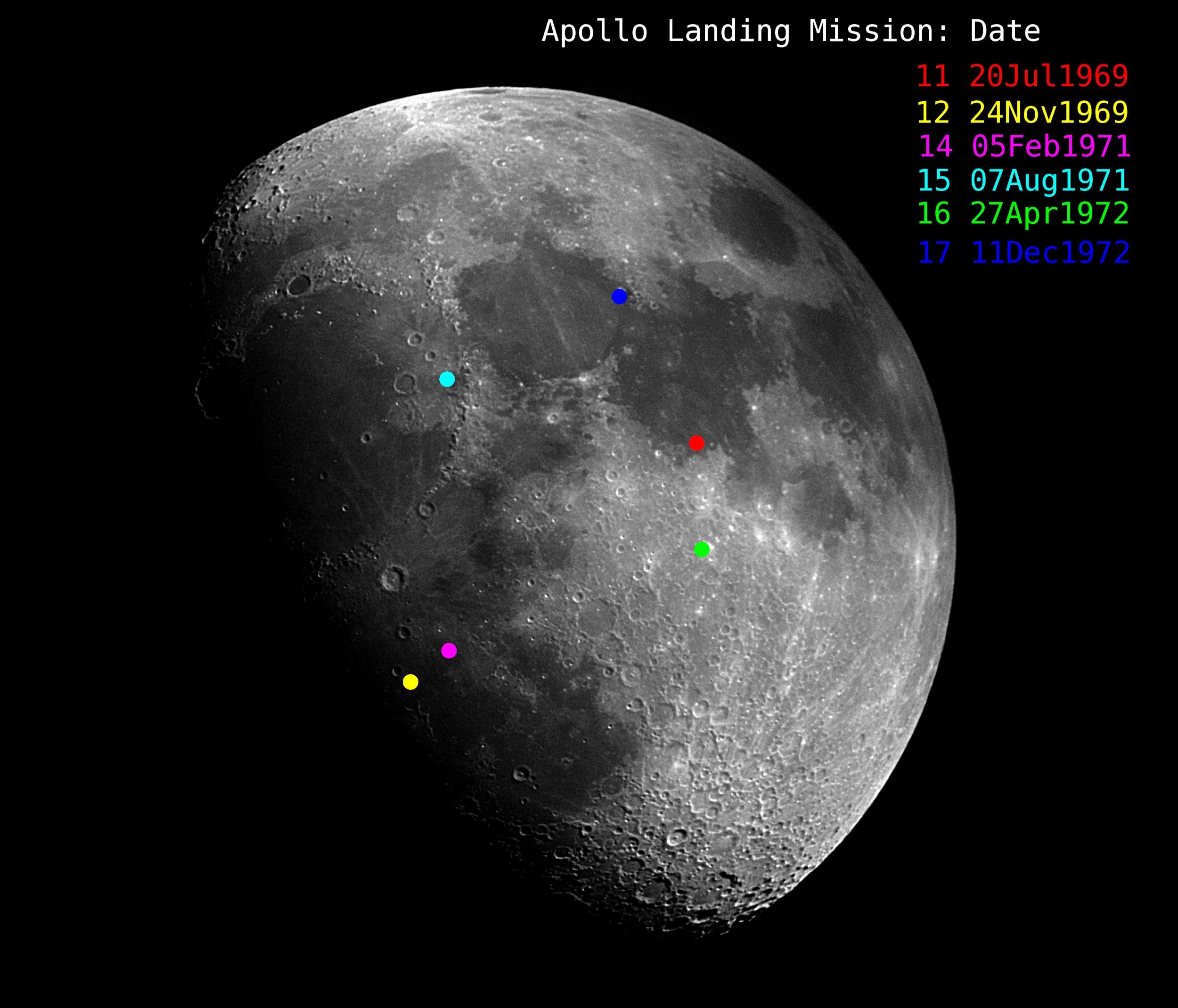 Mike Klinke's moon shot pinpointing Apollo Landing Sites