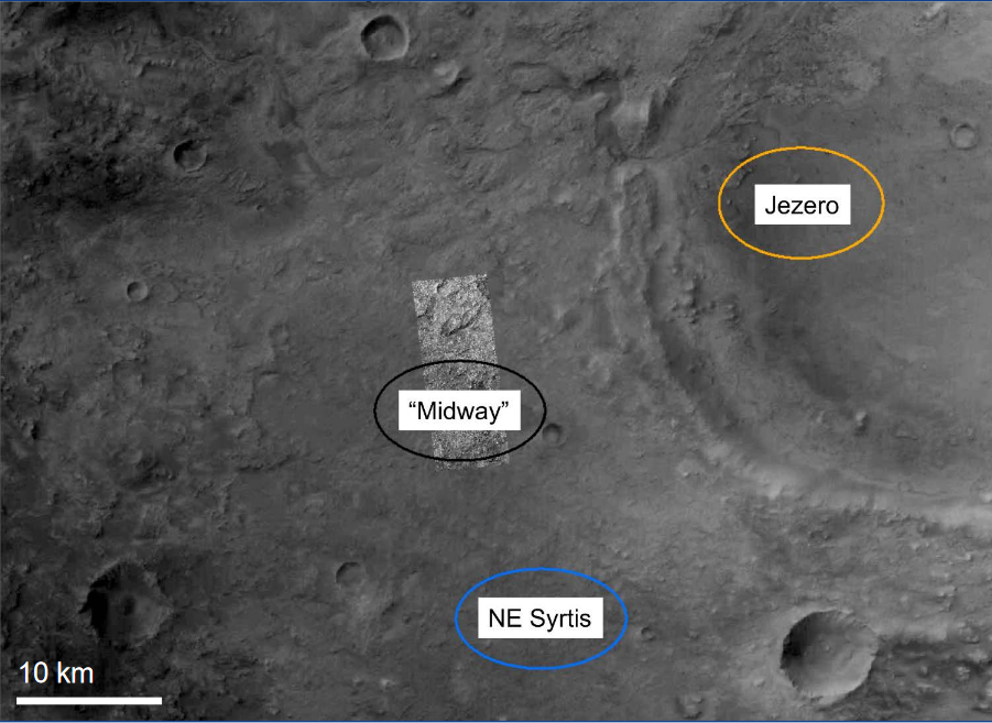 Image showing the location of the NE Syrtis, Jezero, and Midway landing ellipses.