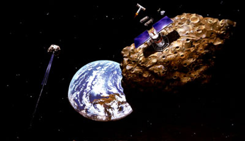 Artist rendition of asteroid mining