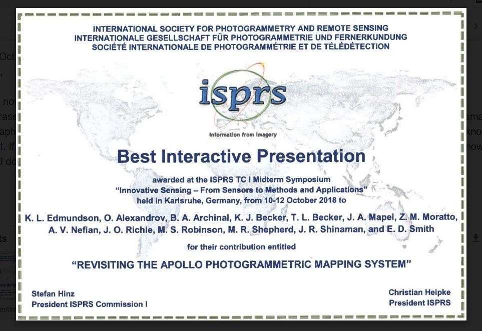 Photogrammetry Award